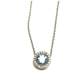 Aquamarine and Diamond Halo Necklace