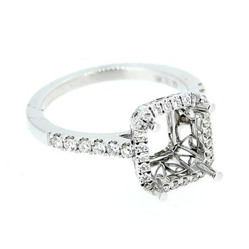 Rectangular Diamond Halo Ring Mounting