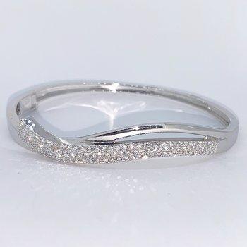 Pave Diamond Wave Bangle Bracelet
