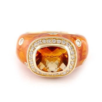 Citrine & Diamond Enamel Ring