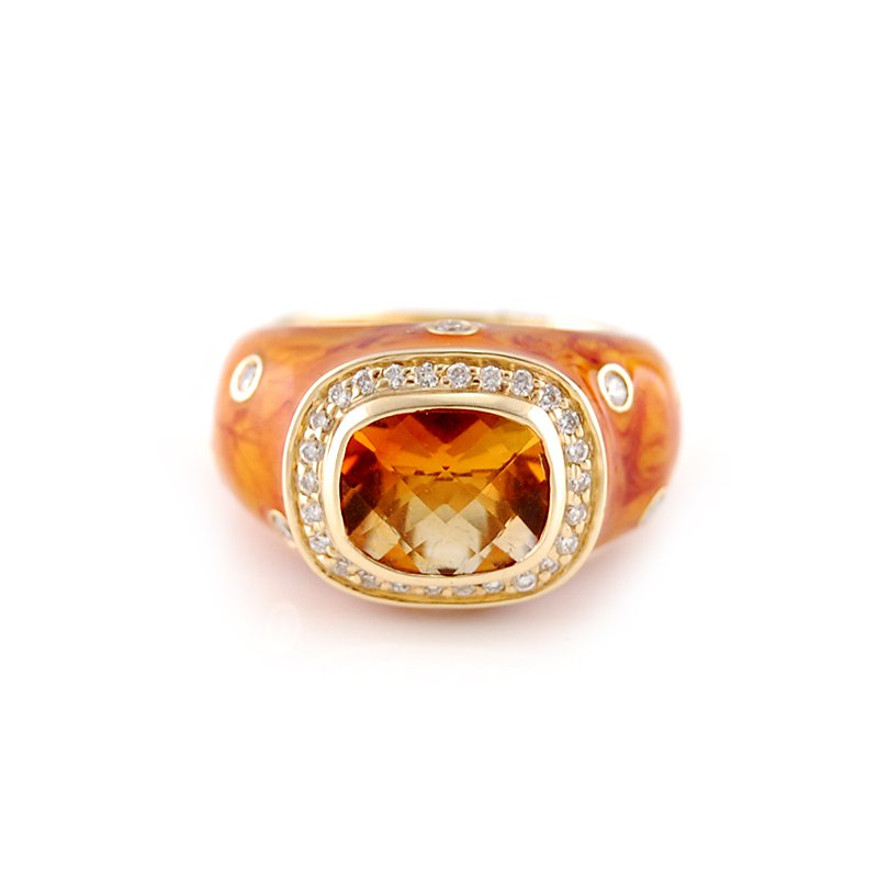 Haggai Citrine & Diamond Enamel Ring