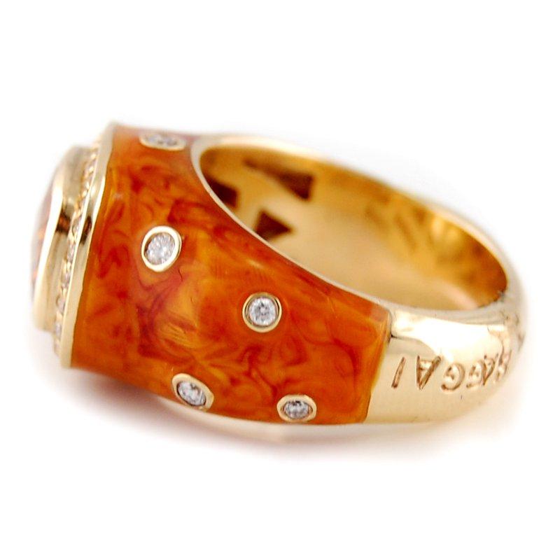 Haggai Citrine & Diamond Enamel Ring