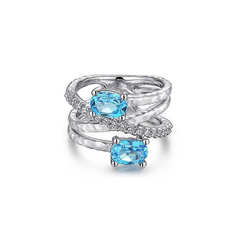 Gabriel & Co. -  IN-STORE COLLECTION Blue Topaz Crossover Ring