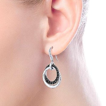 Black Spinel Double Loop Earrings