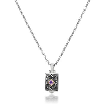 Small rectangular Locket with Amethyst