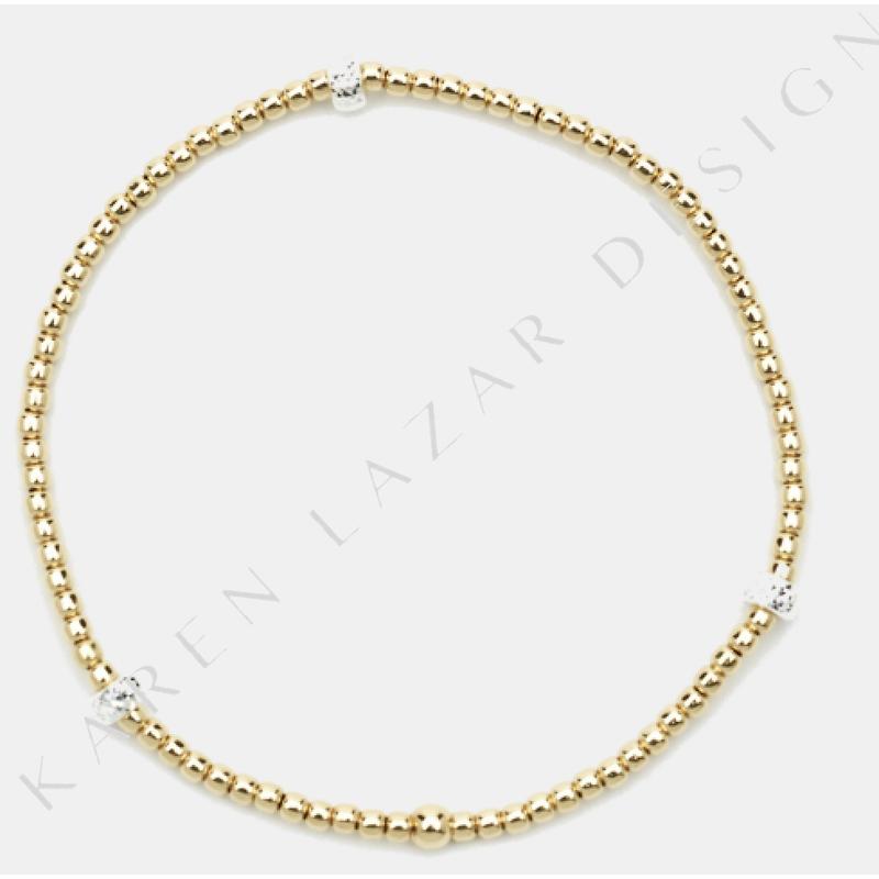 Karen Lazar Stretch 2mm Yellow Gold Filled and S/S Rondelle Pattern Bracelet, Size 6.25