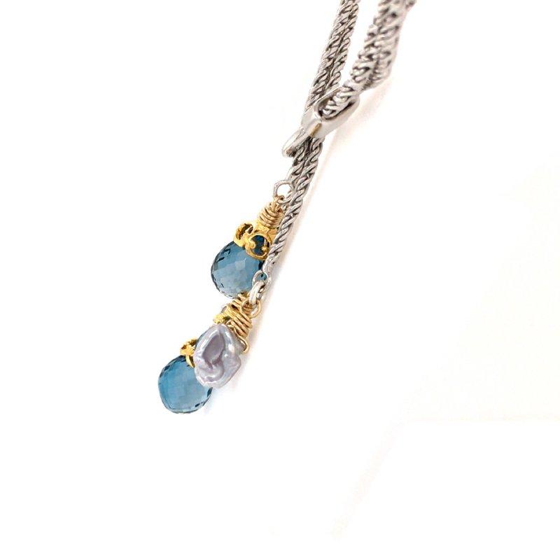 Anatoli Jewelry London Blue Topaz Lariat Necklace