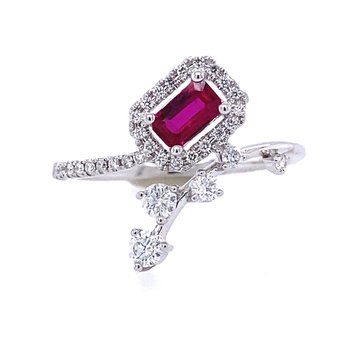 Zeghani 14K White Gold Halo Ruby and Diamond Ring