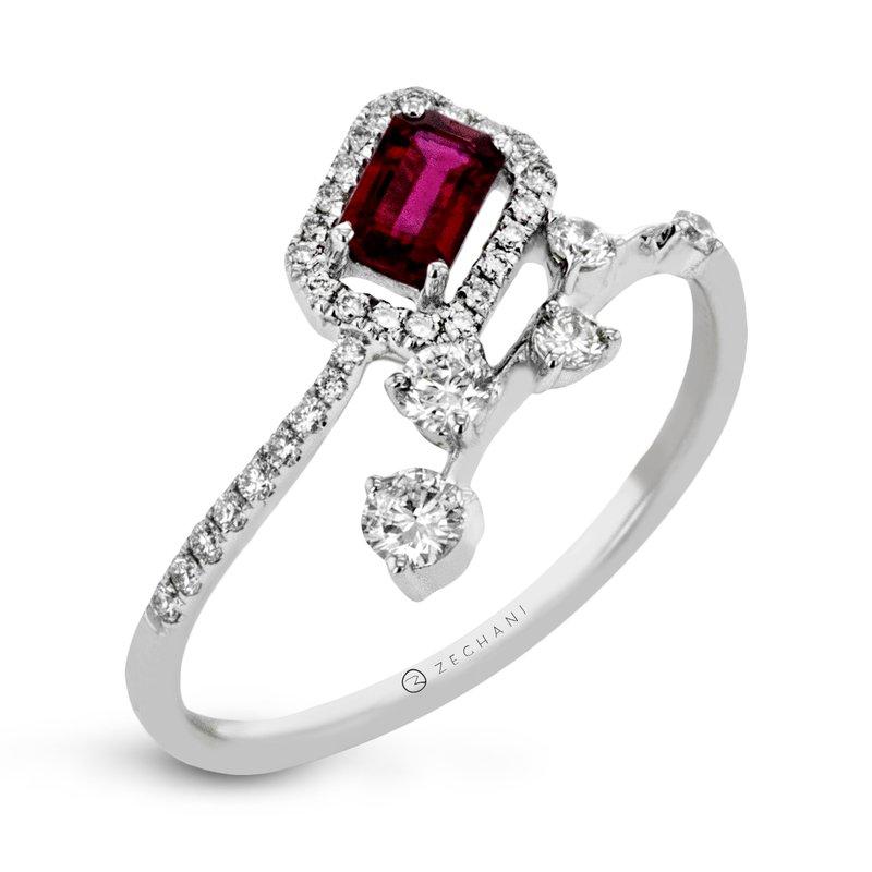 Zeghani Zeghani 14K White Gold Halo Ruby and Diamond Ring