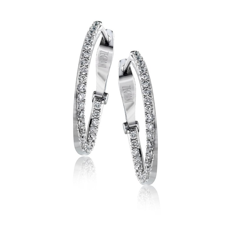 Zeghani Zeghani 14K White Gold, Diamond Twist Hoops