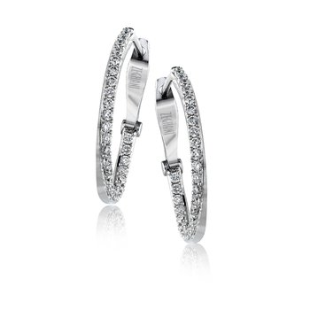 Zeghani 14K White Gold, Diamond Twist Hoops