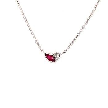 Ruby and Diamond Petite Bud Necklace