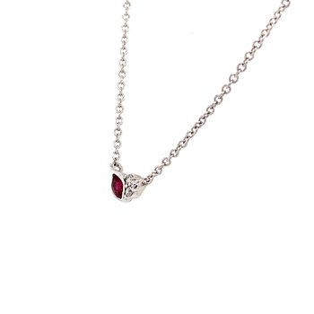 Ruby and Diamond Petite Bud Necklace