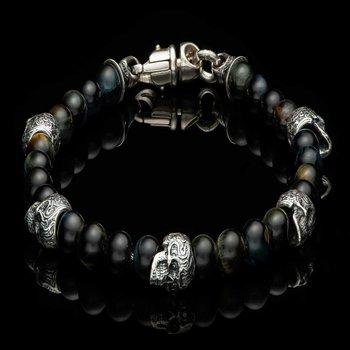 Patrol Skull and Tiger's Eye Bracelet