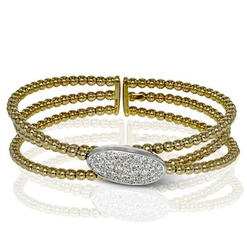 Yellow and White Gold Diamond Cuff Style Bracelet