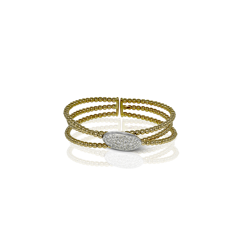 Simon G IN-STORE COLLECTION Yellow and White Gold Diamond Cuff Style Bracelet