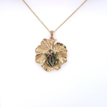 Frog on a Lily Pad pendant