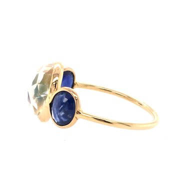 Rainbow Moonstone and Sapphire fashion Ring