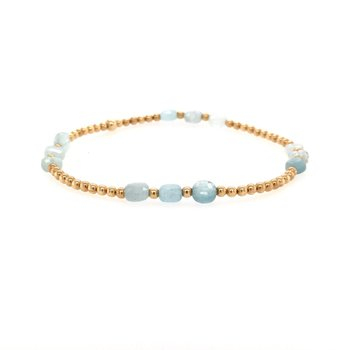 2mm Yellow Gold Filled and Aquamarine Disc Bracelet
