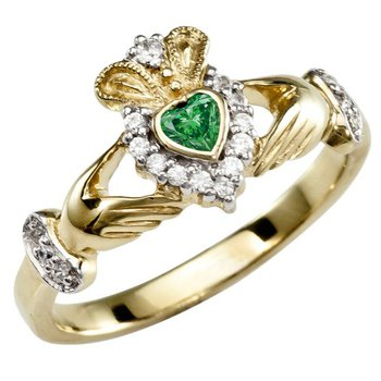 Claddaugh Ring with Green Gemstone