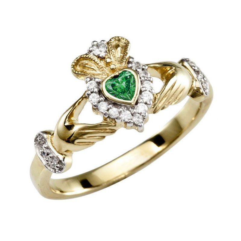 B&C Creations Claddaugh Ring with Green Gemstone