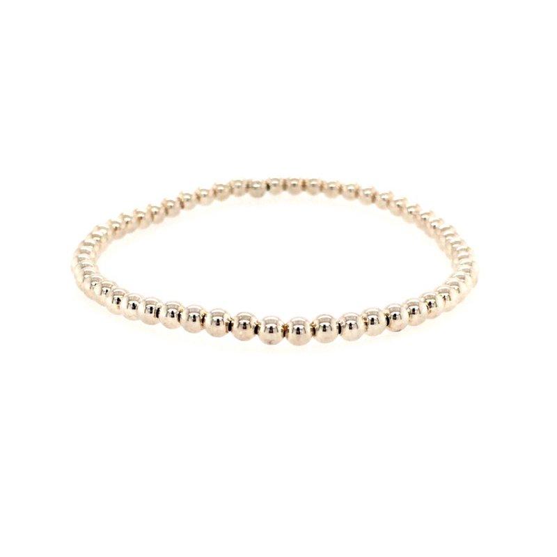 Karen Lazar Stretch 3mm Sterling Silver Bead Bracelet