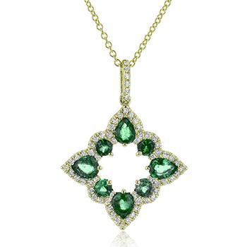 Emerald and Diamond gold Pendant