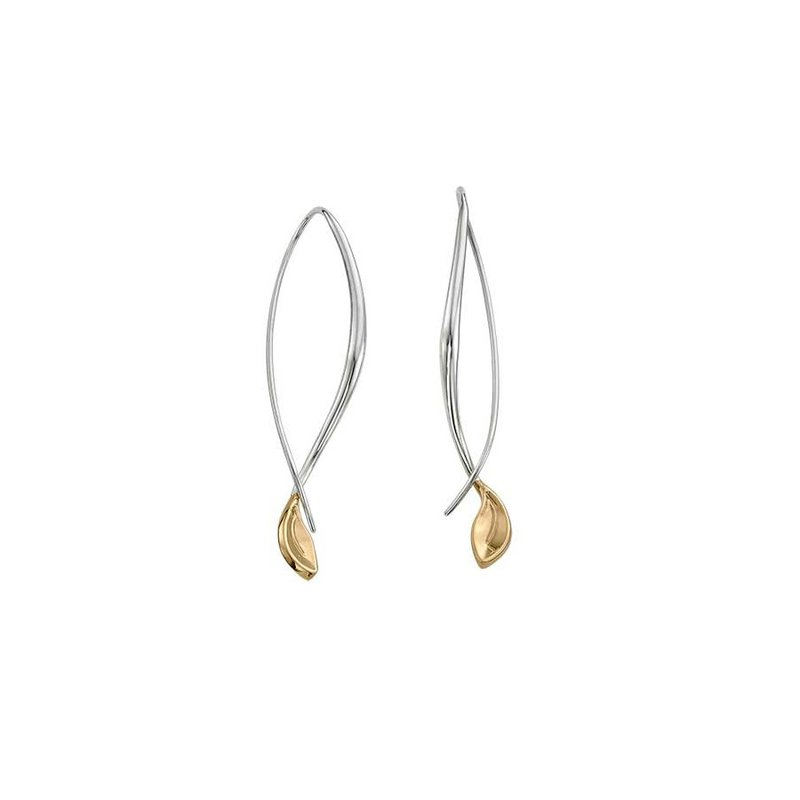 E. L. Designs IN-STORE Collection S/S and 14K Yellow Gold Leaf Drop Earrings