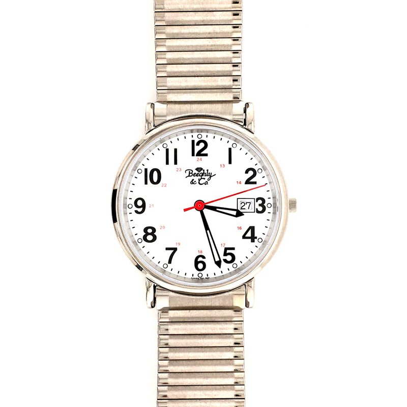 B&C Collections White Stretch Band Watch