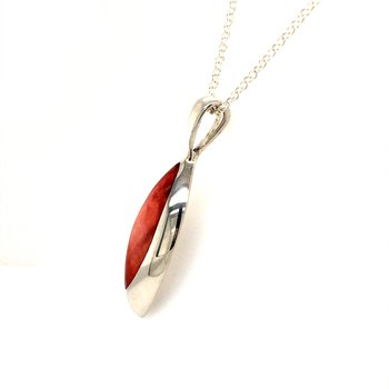 Red Spiny Oyster Marquise Pendant