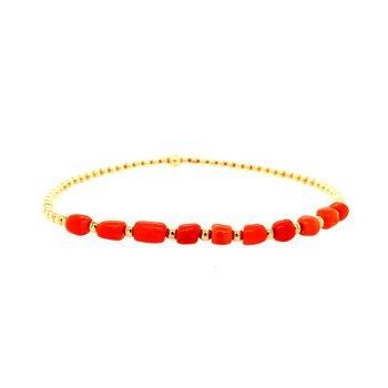 Stretch 2mm Yellow Gold-Filled and Coral Bracelet