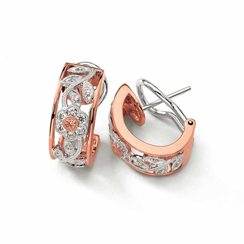 Simon G IN-STORE COLLECTION White and Yellow Gold Diamond Floral Hoop Earrings