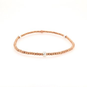 Stretch Rose Gold Filled Bead Station Bracelet, Size 6.75