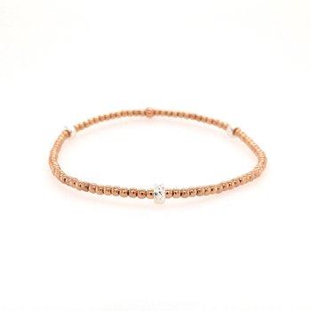Stretch Rose Gold Filled Bead Station Bracelet, Size 6.75
