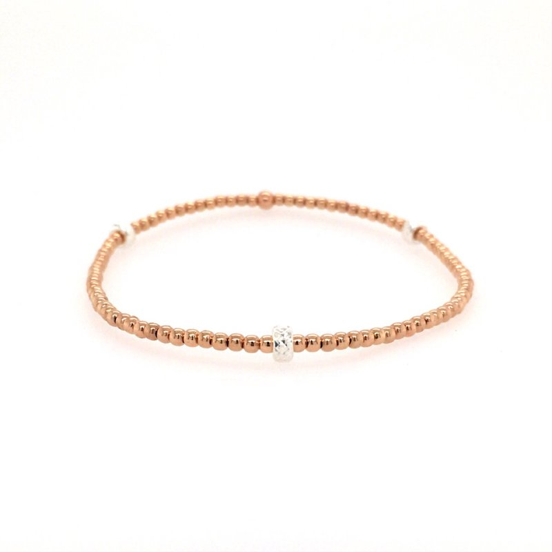 Karen Lazar Stretch Rose Gold Filled Bead Station Bracelet, Size 6.75