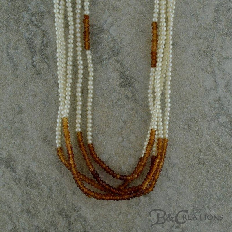 BRIAN'S VAULT Pearl & Spessartite Necklace