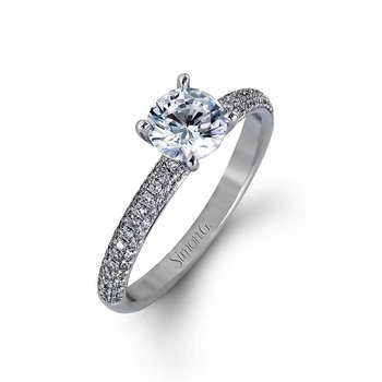 White Gold Pave' Diamond Engagement Ring