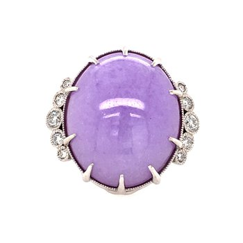 Natural Lavender Jade and Diamond Ring