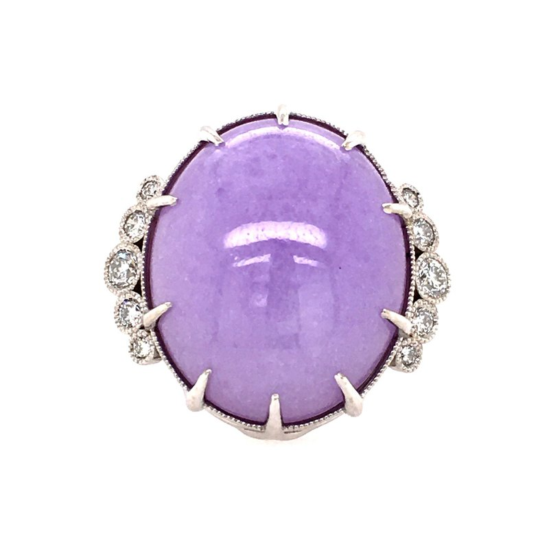 B&C Creations Natural Lavender Jade and Diamond Ring