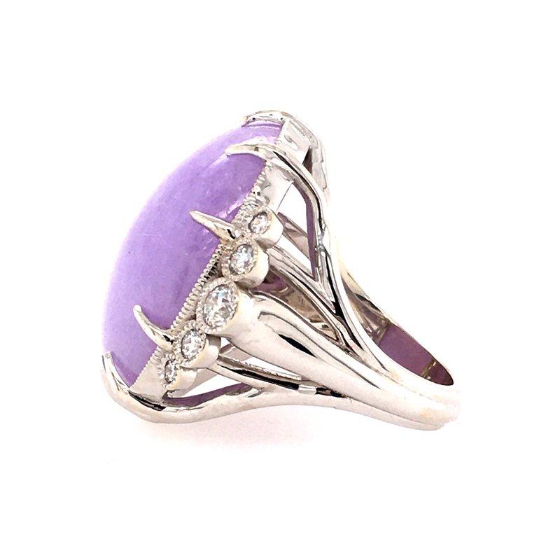 B&C Creations Natural Lavender Jade and Diamond Ring