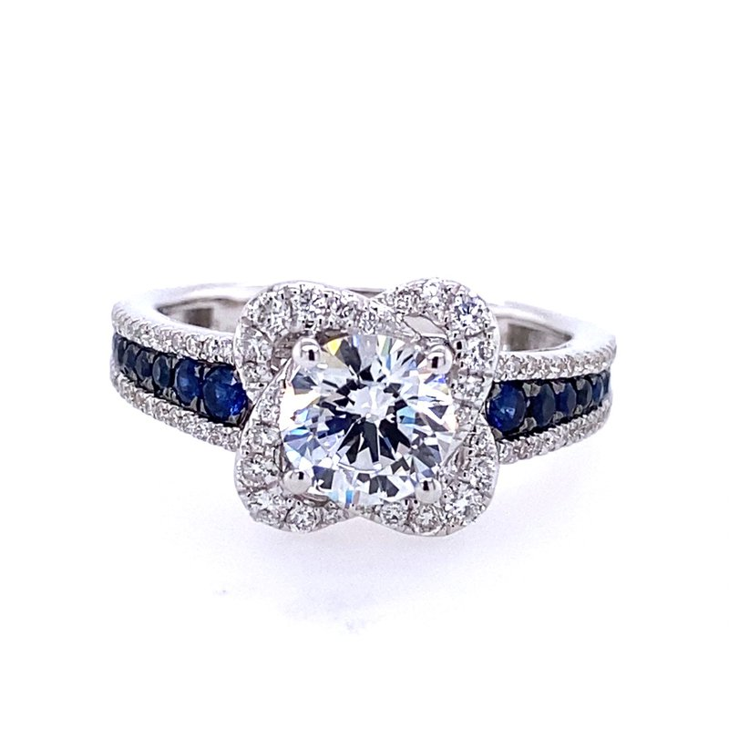 B&C Collections White Gold Diamond and Sapphire Halo Style Engagement Ring