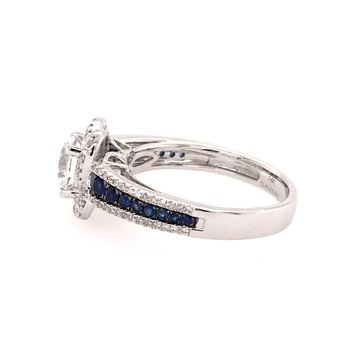 White Gold Diamond and Sapphire Halo Style Engagement Ring