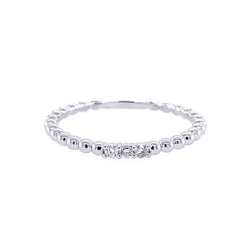 Zeghani 14K White Gold Beaded Ring with Diamond Accents
