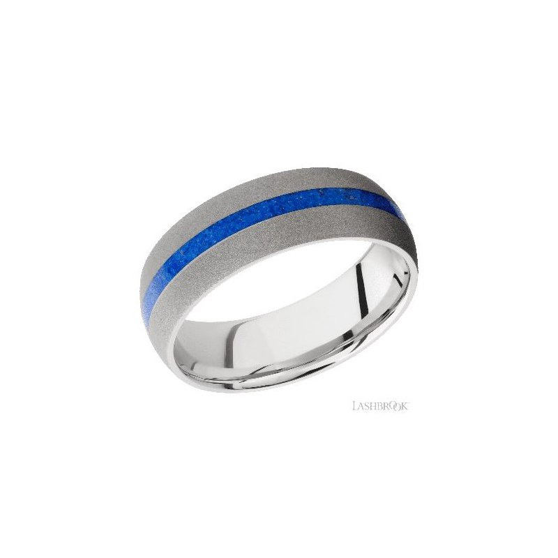 Lashbrook Designs Cobalt Chrome Band with Lapis Inlay