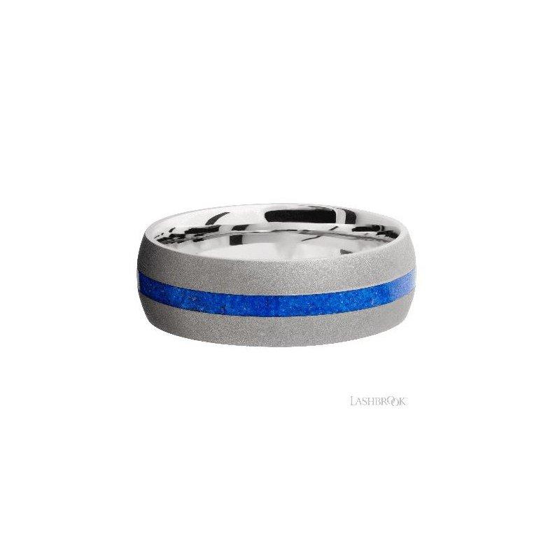 Lashbrook Designs Cobalt Chrome Band with Lapis Inlay