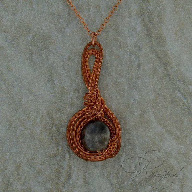 Rapt  Copper Woven Pendant with Chalcedony