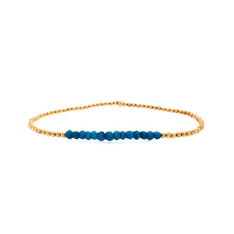 Karen Lazar Stretch 2mm Yellow Gold Filled and Turquoise Bead Bracelet
