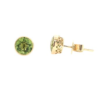 Peridot Bezel Set Earrings