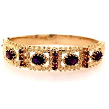 14k Yellow and Amethyst Bangle Bracelet