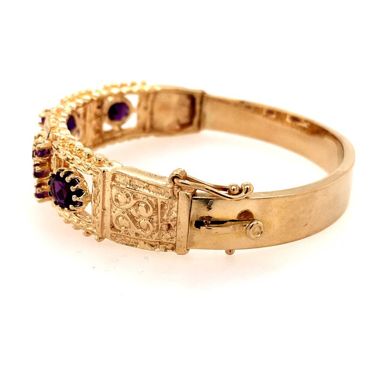 B&C Estate Collection 14k Yellow and Amethyst Bangle Bracelet